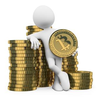 Personagem branca 3d. bitcoin