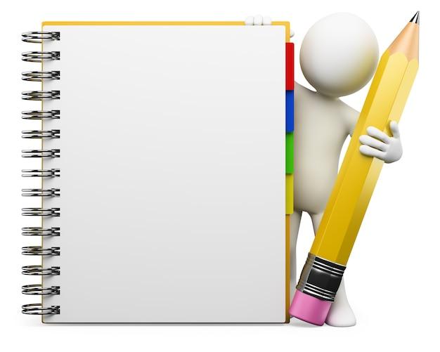 Personagem branca 3d. bloco de anotações