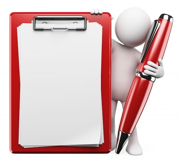 Personagem branca 3d. caneta e prancheta