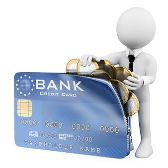 Personagem branca 3d. homem abrindo um cartão de crédito cheio de moedas de euro