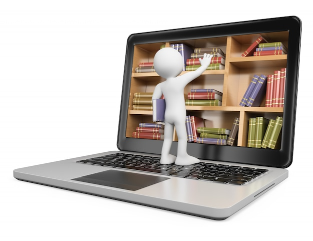 Personagem branca 3d. novas tecnologias. conceito de biblioteca digital. computador portátil
