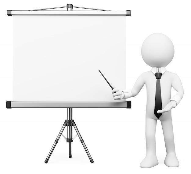 Personagem branca 3d. tela de projeção