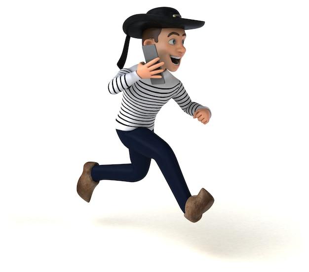 Personagem bretão de desenho animado em 3d