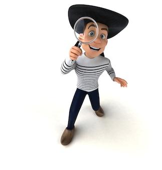 Personagem bretão divertido em 3d Foto Premium
