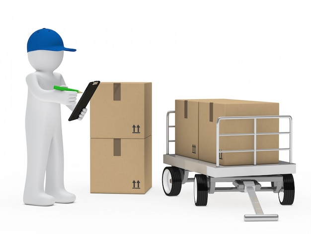 Personagem com uma prancheta ao lado de algumas caixas