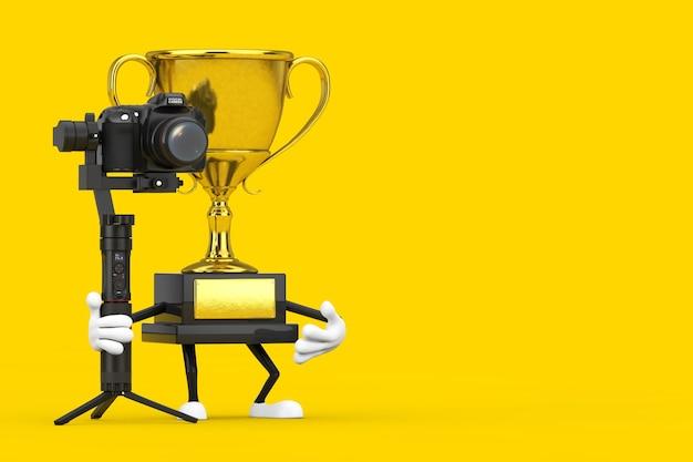 Personagem da pessoa da mascote do troféu do vencedor do prêmio de ouro com sistema de tripé de estabilização do balancim de câmera de vídeo ou dslr em um fundo amarelo. renderização 3d