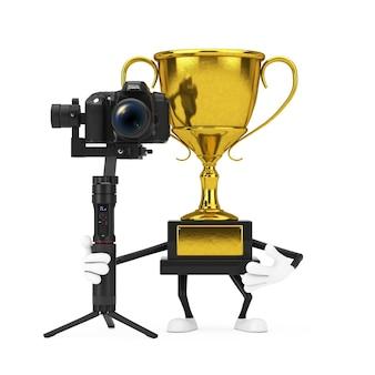 Personagem da pessoa da mascote do vencedor do prêmio dourado com sistema de tripé de estabilização do balancim de dslr ou câmera de vídeo em um fundo branco. renderização 3d