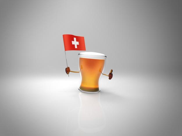 Personagem de cerveja ilustrada divertida segurando a bandeira da suíça