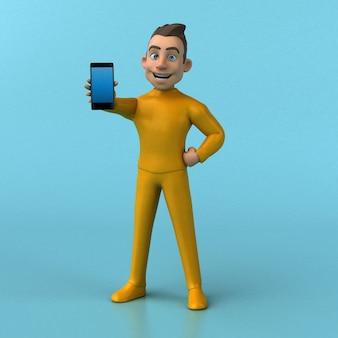 Personagem de desenho animado 3d amarelo