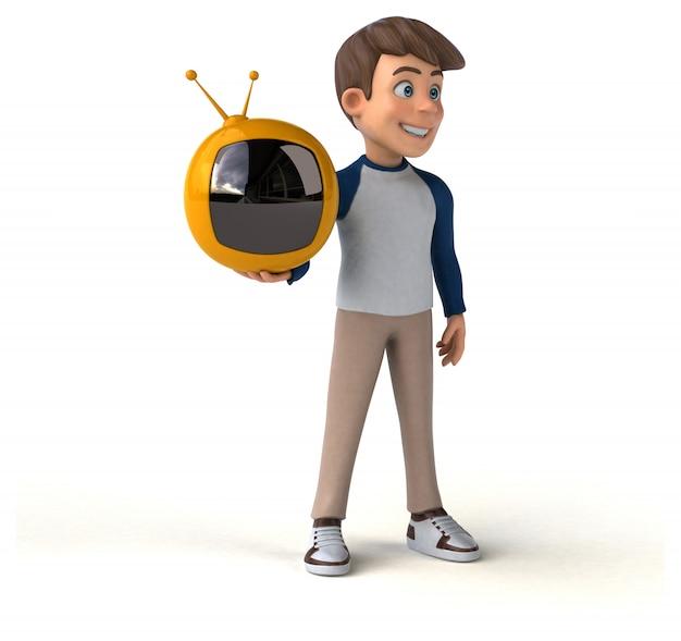 Personagem de desenho animado 3d divertido adolescente com tv retrô