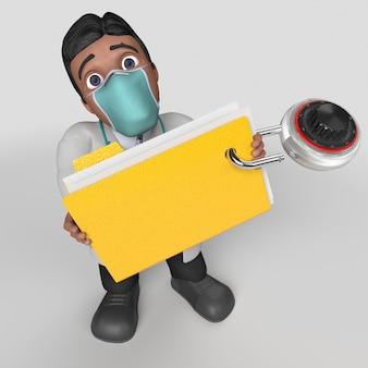 Personagem de desenho animado 3d em máscara facial