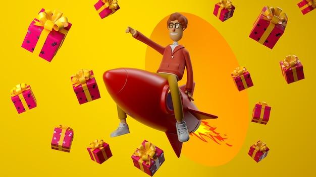 Personagem de desenho animado 3d jovem feliz voando sentado em um foguete sobre fundo amarelo com presentes