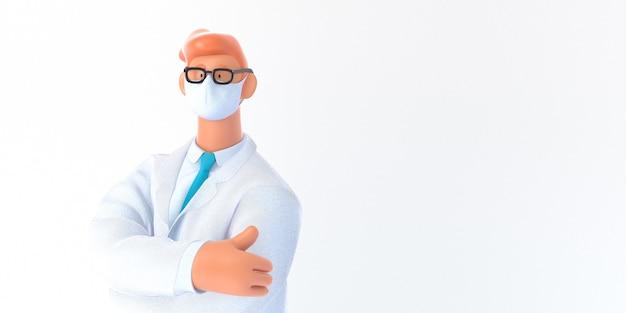 Personagem de desenho animado 3d. modelo de seguro médico - ilustração digital do conceito 3d moderno, retrato do médico.