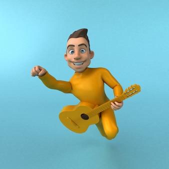 Personagem de desenho animado amarelo divertido