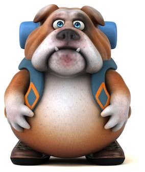 Personagem de desenho animado de buldogue mochileiro divertido