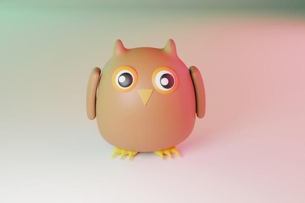 Personagem de desenho animado de coruja adorável, renderização de ilustração 3d