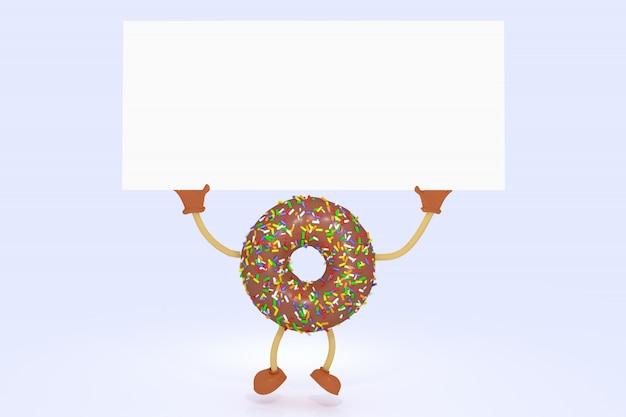Personagem de desenho animado de donut de chocolate