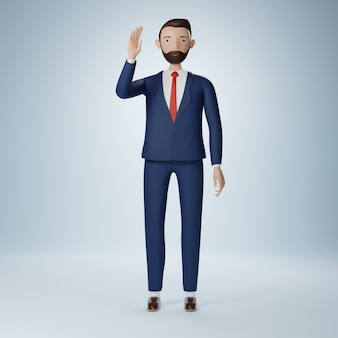Personagem de desenho animado de empresário levantando a mão e dizendo olá pose isolada