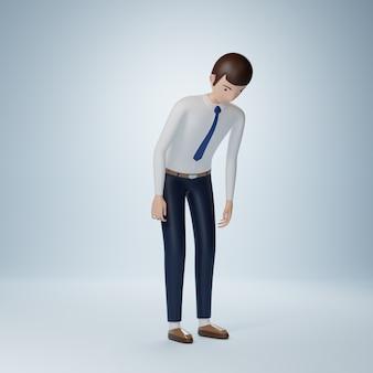 Personagem de desenho animado de empresário se desculpando, pose isolada