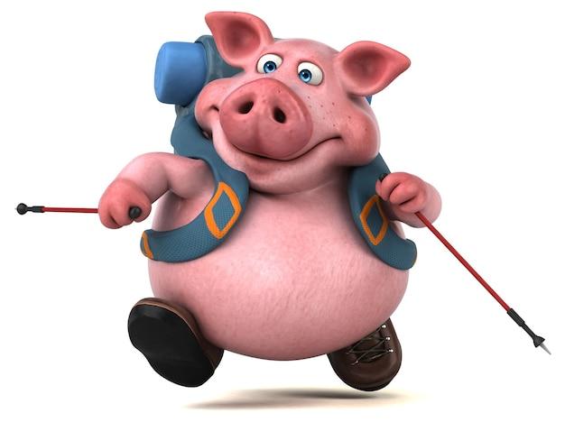 Personagem de desenho animado de porco mochileiro divertido