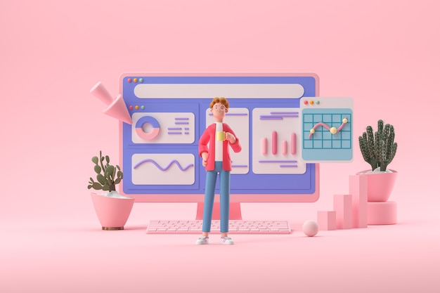 Personagem de desenho animado em 3d e computador com páginas abertas otimização de seo para análise da web