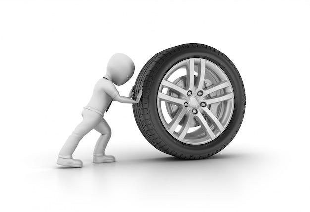 Personagem de desenho animado, empurrando a roda do carro