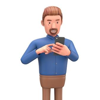 Personagem de desenho animado enviar mensagem do telefone.