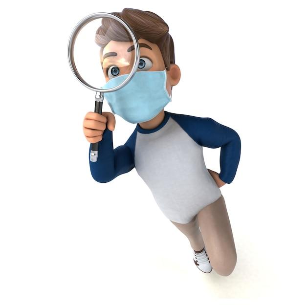 Personagem de desenho animado infantil com máscara