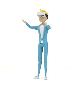 Personagem de desenho animado masculino usin vr glasses