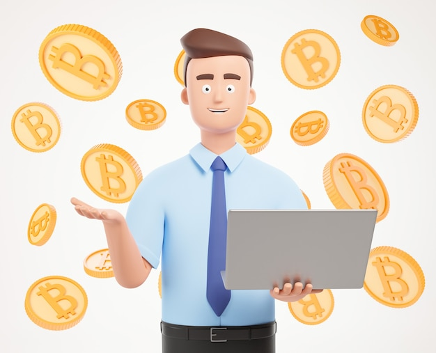 Personagem de empresário feliz com apresentação de laptop sobre fundo branco com bitcoins.3d render ilustração.