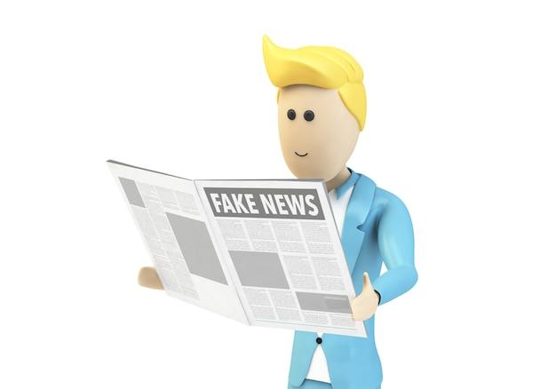 Personagem de empresário isolado lendo notícias falsas
