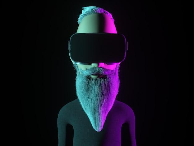 Personagem de hipster estilizada em capacete de realidade virtual ou óculos de vr. ilustração 3d