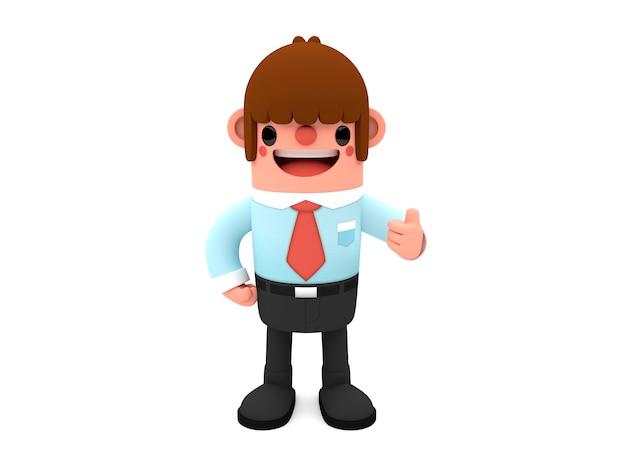 Personagem de homem de negócios de desenho animado em 3d mostrando os polegares para cima em pé isolado no branco ba