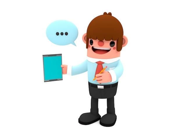 Personagem de homem de negócios feliz dos desenhos animados em 3d segurando um conceitos de publicidade de tablet em branco