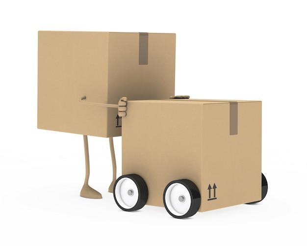 Personagem de papelão movendo uma caixa