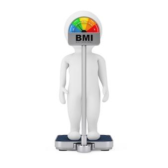 Personagem de personagem 3d em uma balança de controle de peso médica com imc ou escala de índice de massa corporal medidor dial gage em um fundo branco. renderização 3d