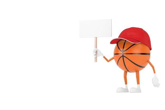 Personagem de pessoa de mascote de esportes de bola de basquete de brinquedo bonito dos desenhos animados com banner em branco branco vazio com espaço livre para seu projeto em um fundo branco. renderização 3d