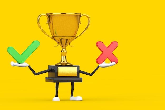 Personagem de pessoa do mascote do troféu do vencedor do prêmio dourado com a cruz vermelha e a marca de seleção verde, confirmar ou negar, sim ou não sinal de ícone em um fundo amarelo. renderização 3d