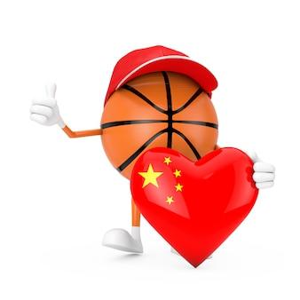 Personagem de pessoa mascote de esportes de bola de basquete de brinquedo bonito dos desenhos animados com o coração da bandeira da china em um fundo branco. renderização 3d