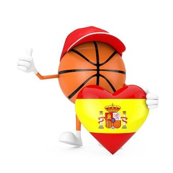 Personagem de pessoa mascote de esportes de bola de basquete de brinquedo bonito dos desenhos animados com o coração de bandeira do reino de espanha em um fundo branco. renderização 3d