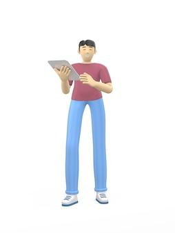 Personagem de renderização 3d de um cara asiático com um tablet. o conceito de estudo, negócios, líder, inicialização.