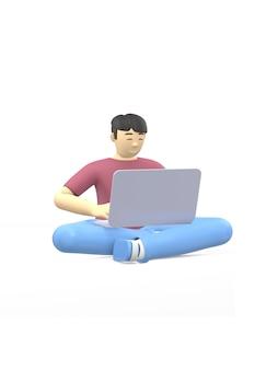 Personagem de renderização 3d de um cara asiático sentado em posição de lótus com um laptop. o conceito de estudo, negócios, líder, inicialização.
