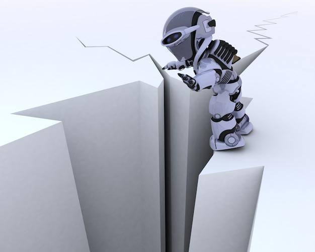 Personagem de robô, superfície rachada