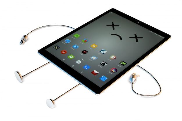 Personagem de tablet quebrado morto, conceito de tecnologia. ilustração 3d contém o traçado de recorte