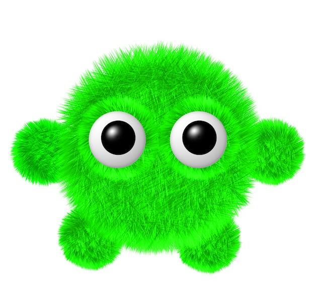 Personagem fofa com olhos grandes monstro peludo e verde com braços e pernas