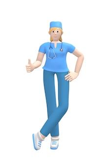 Personagem médica jovem médico feminino branco polegar para cima. conceito como, bom, sucesso. pessoa dos desenhos animados