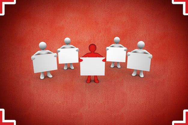 Personagens com cartaz em branco no fundo vermelho