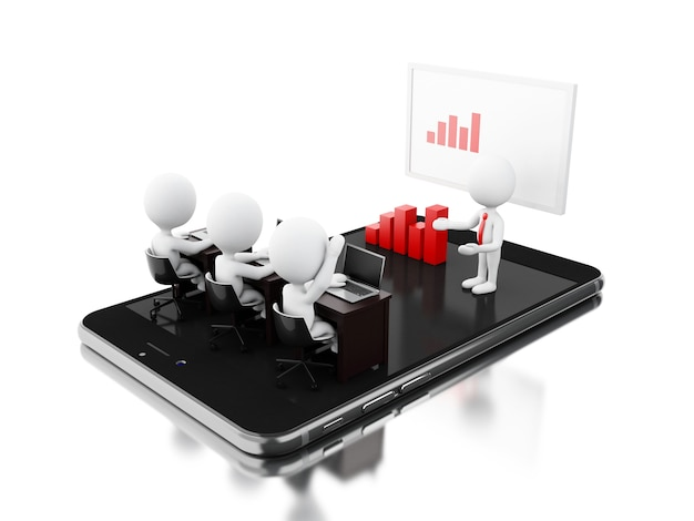 Personagens de bussines 3d tendo uma reunião on-line sobre tablet