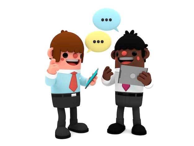 Personagens de homens de negócios dos desenhos animados em 3d discutindo um projeto segurando tabuletas digitais enquanto s