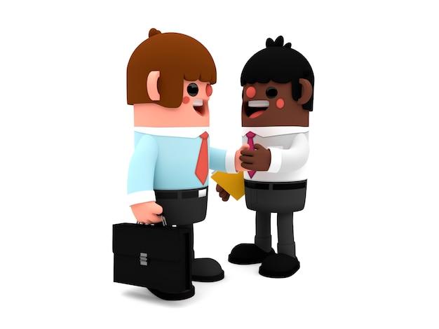 Personagens de homens de negócios legal dos desenhos animados em 3d fechando um acordo enquanto eles apertam as mãos de pé